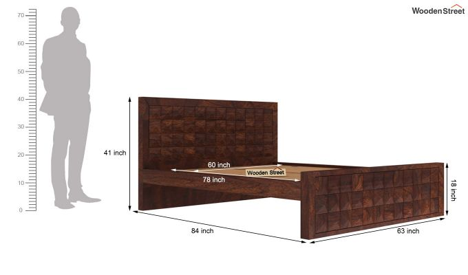 Morse Bed Without Storage (Queen Size, Walnut Finish)-5