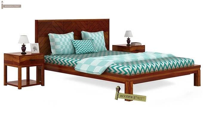 Neeson Bed Without Storage (King Size, Honey Finish)-2
