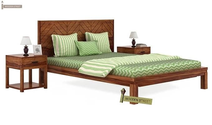 Neeson Bed Without Storage (Queen Size, Teak Finish)-2