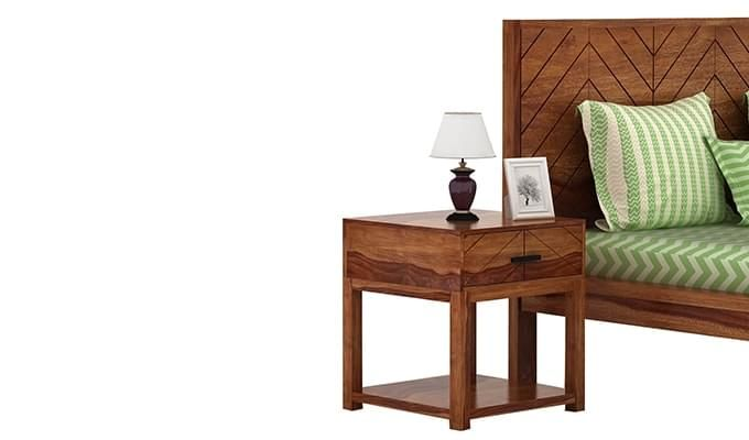 Neeson Bedside Table (Teak Finish)-1