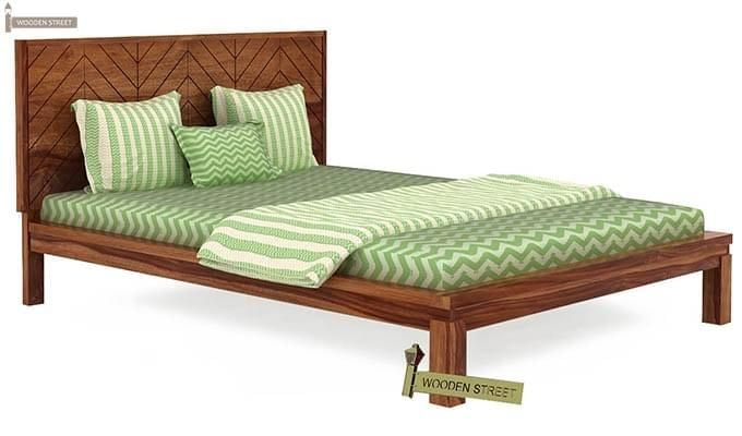 Neeson Bed Without Storage (Queen Size, Teak Finish)-1