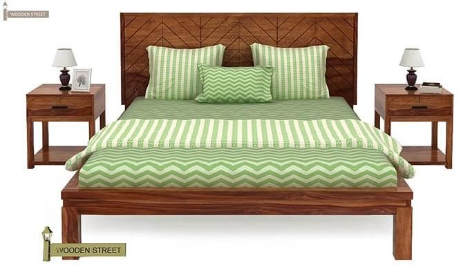 Neeson Bed Without Storage (Queen Size, Teak Finish)-3