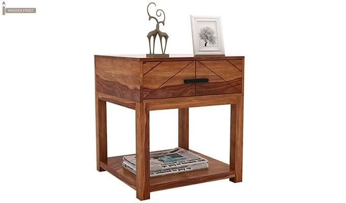 Neeson Bedside Table (Teak Finish)-5