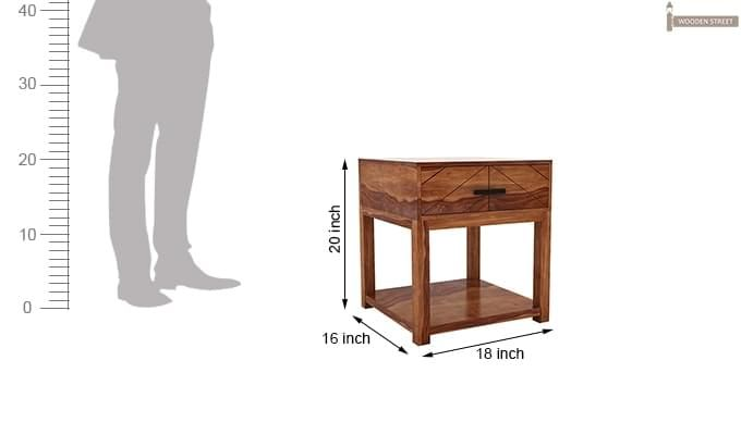 Neeson Bedside Table (Teak Finish)-6