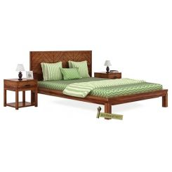 Neeson Bed Without Storage (Queen Size, Teak Finish)