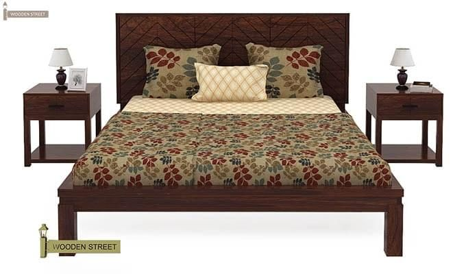 Neeson Bed Without Storage (Queen Size, Walnut Finish)-2
