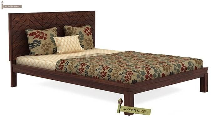 Neeson Bed Without Storage (Queen Size, Walnut Finish)-3