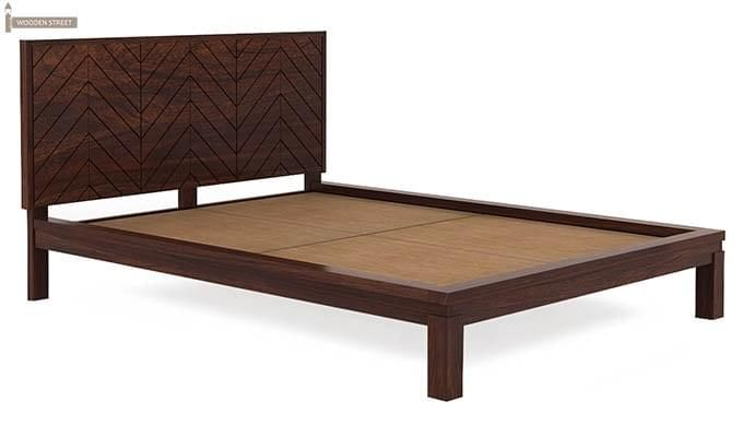 Neeson Bed Without Storage (Queen Size, Walnut Finish)-4