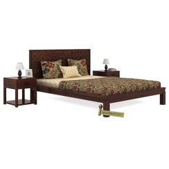 Neeson Bed Without Storage (Queen Size, Walnut Finish)