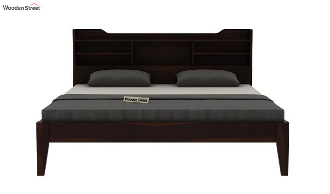 Oretta Bed Without Storage (Queen Size,Walnut Finish)-5