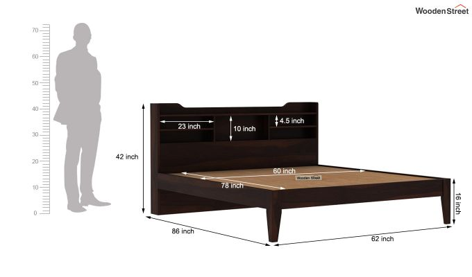 Oretta Bed Without Storage (Queen Size,Walnut Finish)-8
