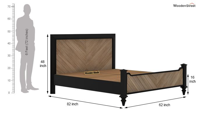 Oriental Bed Without Storage (Queen Size, Black Finish)-6