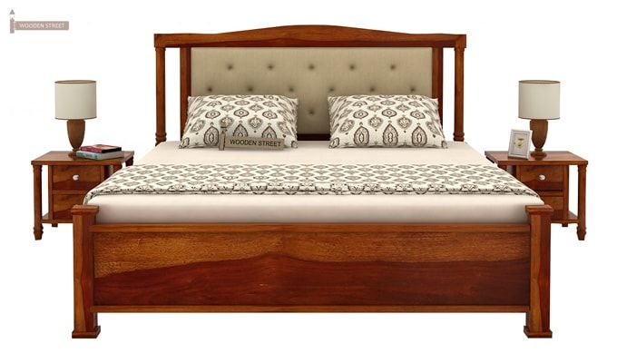 Ornat Bed Without Storage (King Size, Honey Finish)-3