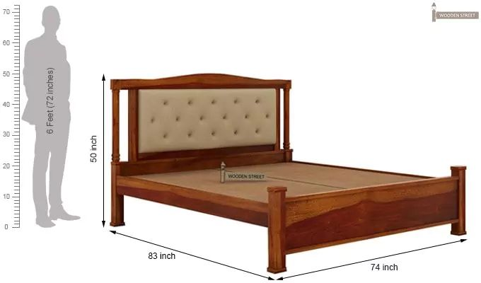 Ornat Bed Without Storage (King Size, Honey Finish)-6