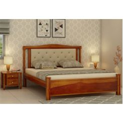Ornat Bed Without Storage (King Size, Honey Finish)