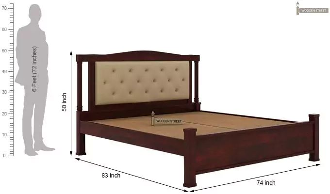 Ornat Bed Without Storage (King Size, Mahogany Finish)-5