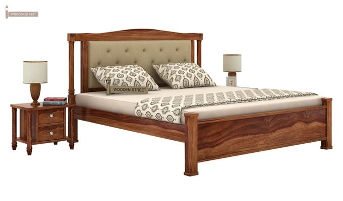 Ornat Bed Without Storage (Queen Size, Teak Finish)-1