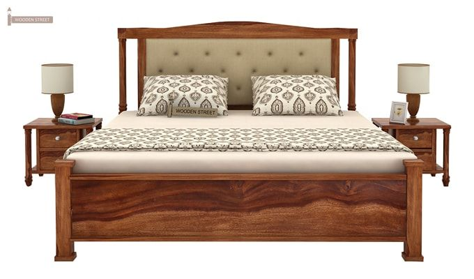Ornat Bed Without Storage (Queen Size, Teak Finish)-2