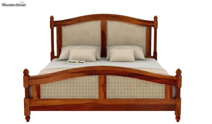 Palm Bed Without Storage (Queen Size, Honey Finish)-4