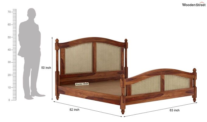 Palm Bed Without Storage (Queen Size, Teak Finish)-7