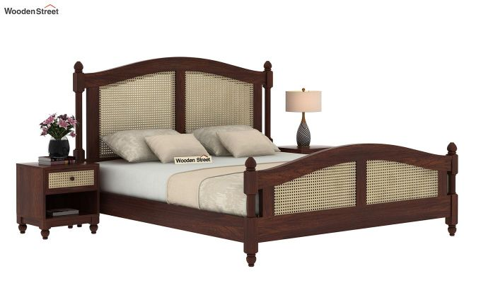Palm Bed Without Storage (Queen Size, Walnut Finish)-2