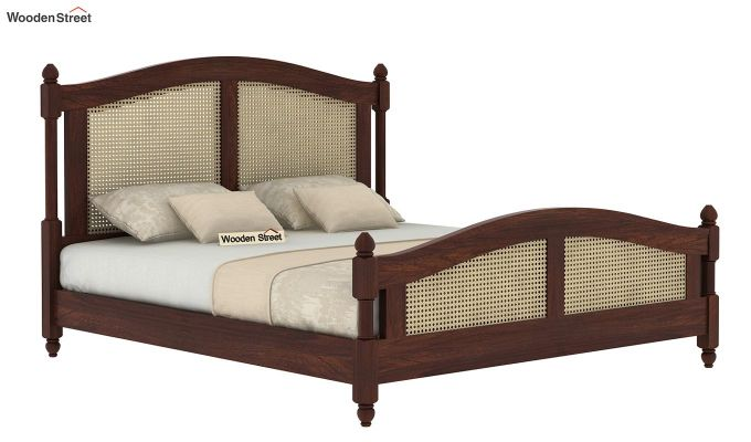 Palm Bed Without Storage (Queen Size, Walnut Finish)-4
