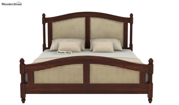 Palm Bed Without Storage (Queen Size, Walnut Finish)-5