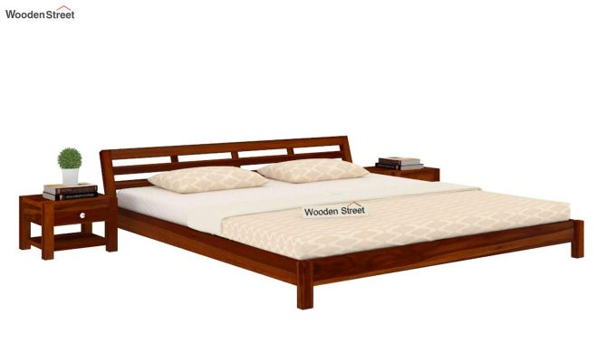 Rico Low Floor Bed (King Size, Honey Finish)-1