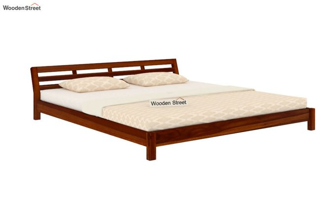 Rico Low Floor Bed (King Size, Honey Finish)-3