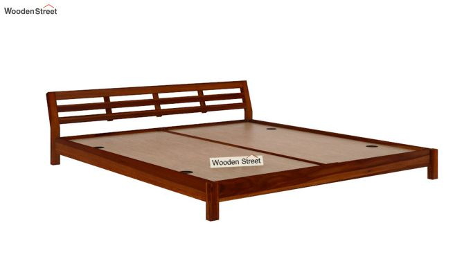 Rico Low Floor Bed (King Size, Honey Finish)-4