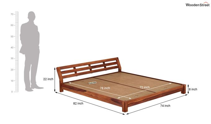 Rico Low Floor Bed (King Size, Honey Finish)-7