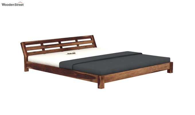 Rico Low Floor Bed (King Size, Teak Finish)-4