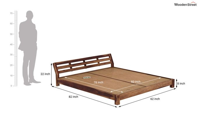 Rico Low Floor Bed (Queen Size, Teak Finish)-7
