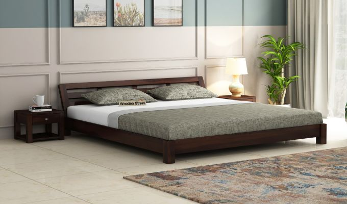 Rico Low Floor Bed (Queen Size, Walnut Finish)-1