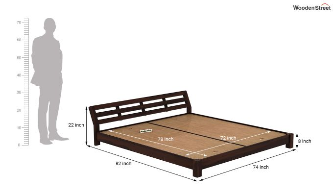 Rico Low Floor Bed (King Size, Walnut Finish)-7