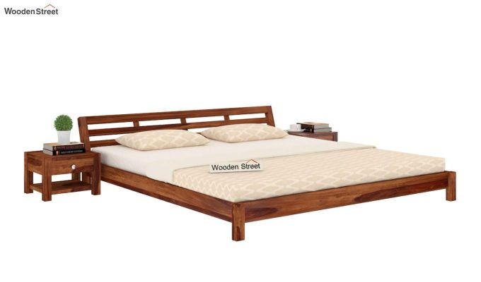 Rico Low Floor Bed (Queen Size, Teak Finish)-2