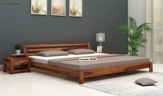 Rico Low Floor Bed (Queen Size, Teak Finish)-1