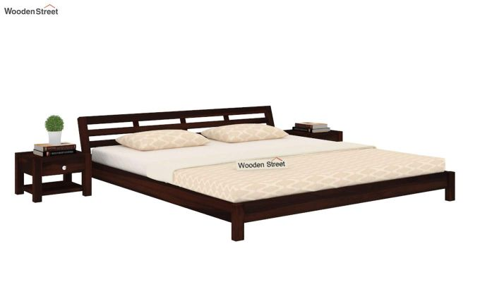 Rico Low Floor Bed (King Size, Walnut Finish)-1