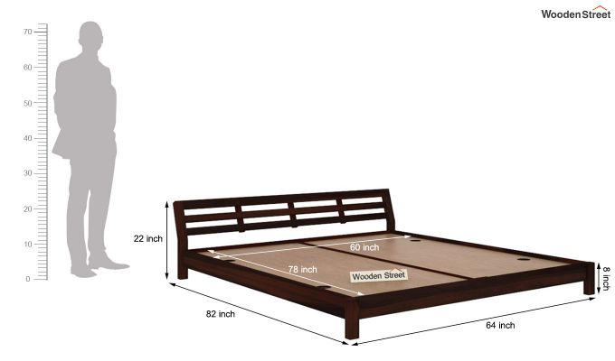 Rico Low Floor Bed (Queen Size, Walnut Finish)-5
