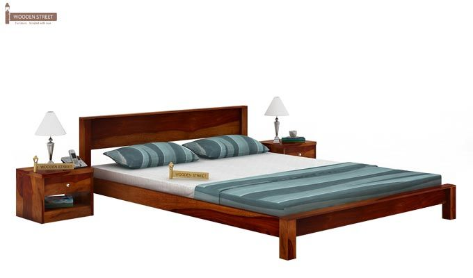 Rooney Low Floor Platform Bed (Queen Size, Honey Finish)-1