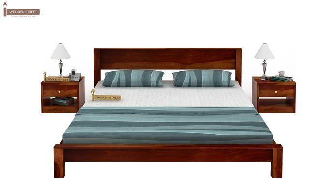Rooney Low Floor Platform Bed (Queen Size, Honey Finish)-2