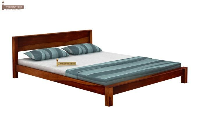 Rooney Low Floor Platform Bed (Queen Size, Honey Finish)-3