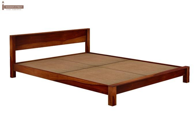 Rooney Low Floor Platform Bed (Queen Size, Honey Finish)-5
