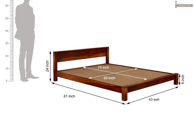 Rooney Low Floor Platform Bed (Queen Size, Honey Finish)-6