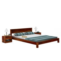 Rooney Low Floor Platform Bed (King Size, Honey Finish)