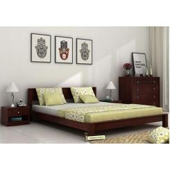 Rooney Low Floor Platform Bed (King Size, Mahogany Finish)