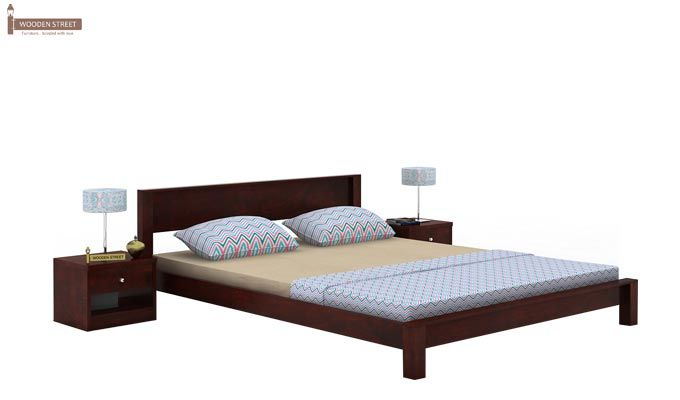 Rooney Low Floor Platform Bed (King Size, Mahogany Finish)-2