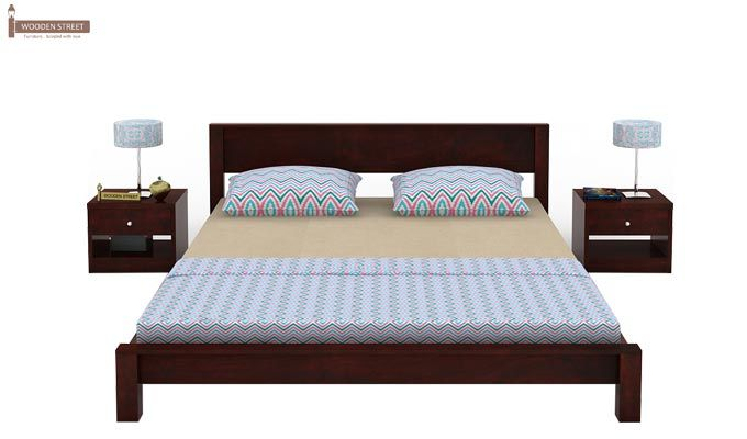 Rooney Low Floor Platform Bed (King Size, Mahogany Finish)-3