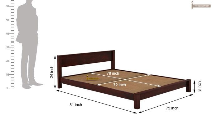 Rooney Low Floor Platform Bed (King Size, Mahogany Finish)-6