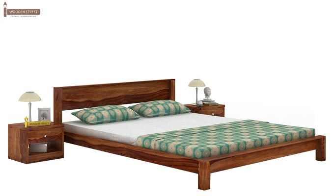 Rooney Low Floor Platform Bed (Queen Size, Teak Finish)-1